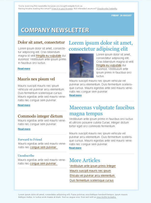 Blue Email Marketing Newsletter