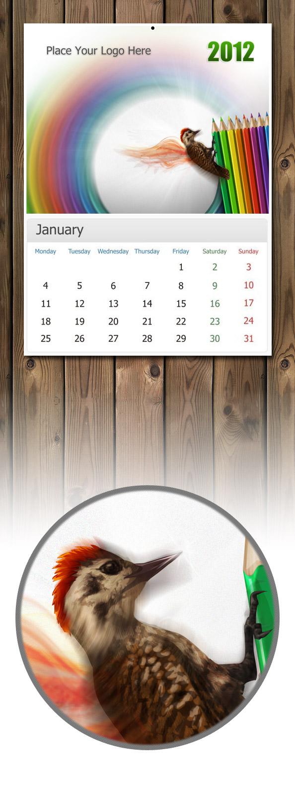Calendar Head Design : Free psd wall calendar files