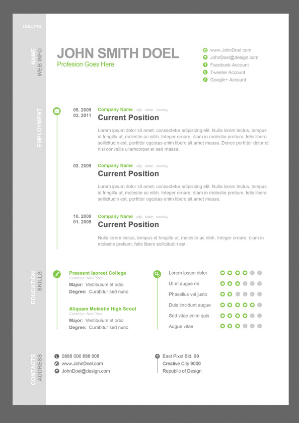 Cv Resume Free Psd Template  Free Psd Files