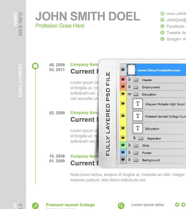 CV Resume Free PSD Template - Free PSD Files