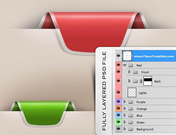 Fully Layered Colorful Web Ribbons Set
