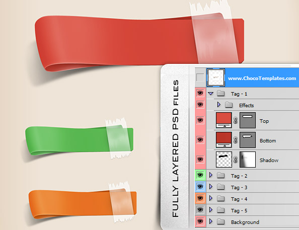 Fully Layered Free PSD Ribbons