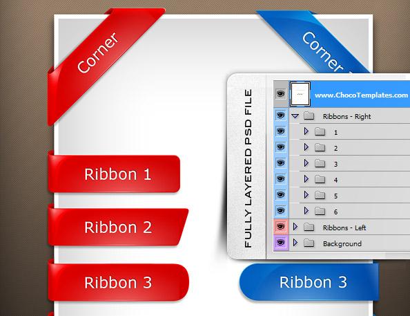 Fully Layered Glossy PSD Ribbons
