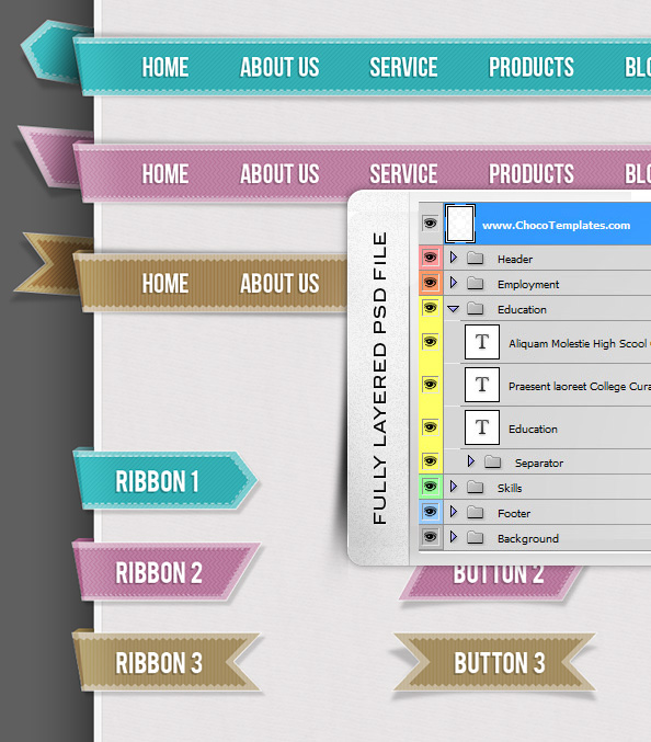 Fully Layered PSD Web UI Set Navigations Buttons Circles and Ribbons