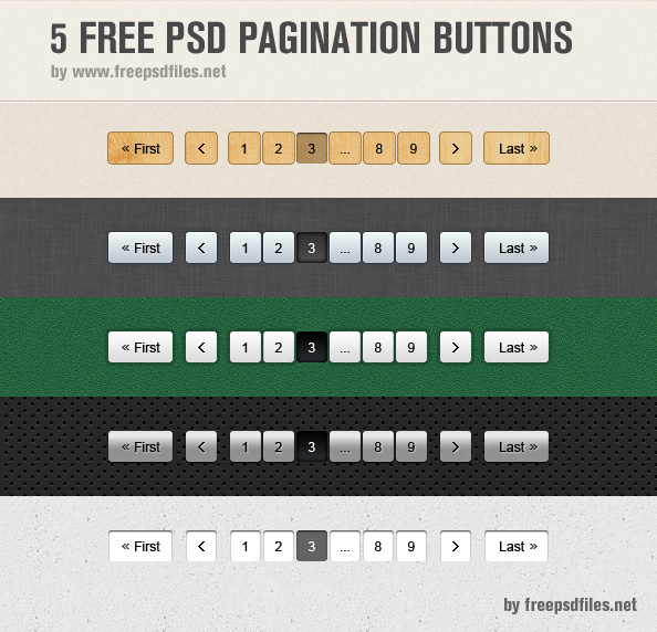 5 Pagination PSD Buttons Preview Big