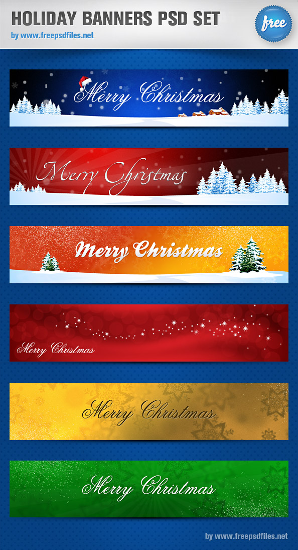 Holiday Banners PSD Set - Free PSD Files