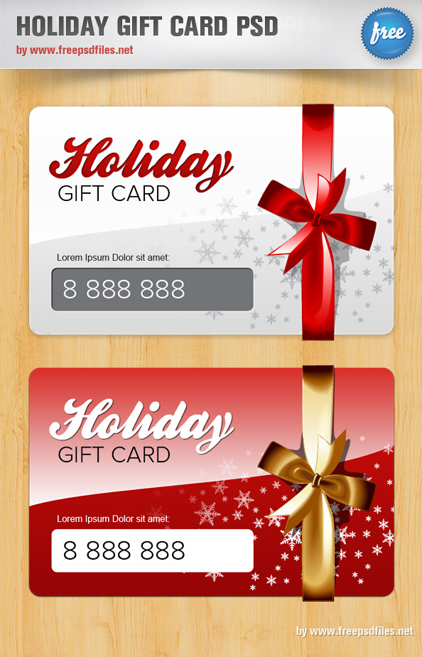 Holiday Gift Card PSD Template Free PSD Files - Christmas card templates for photoshop