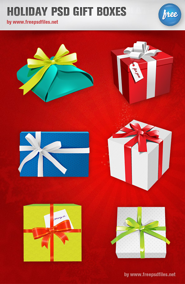 Holiday PSD Gift Boxes Preview Big