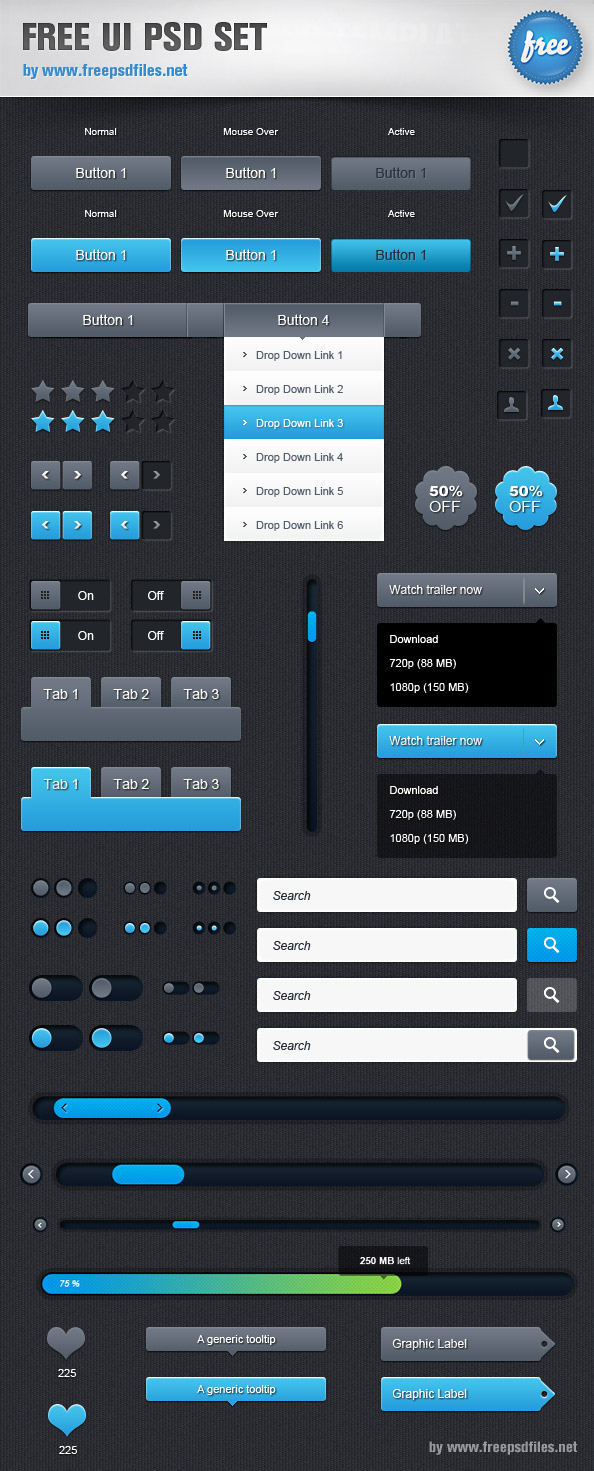 Free UI PSD Set Preview