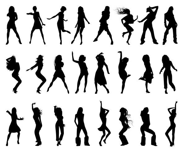 Dancing Girls Silhouettes Set Free Psd Files