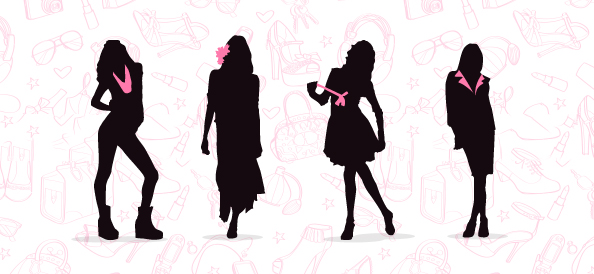 Fashionable Women Silhouettes Set 1