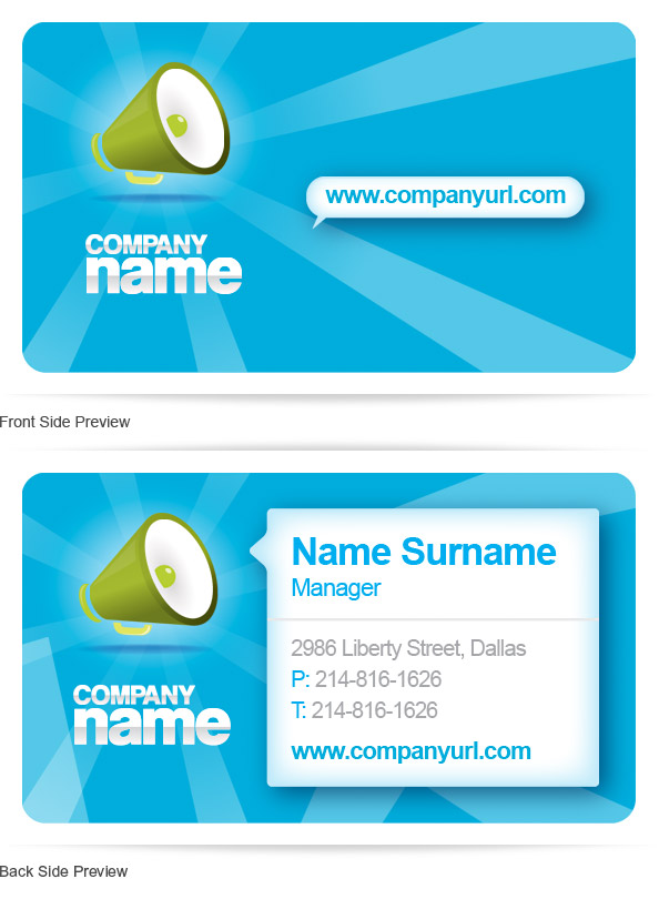 Free PSD Business Card Template Preview