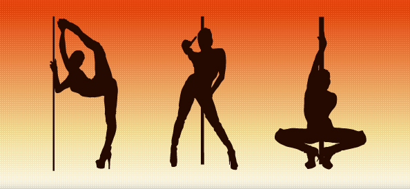 Pole Dancer Silhouettes Set 1