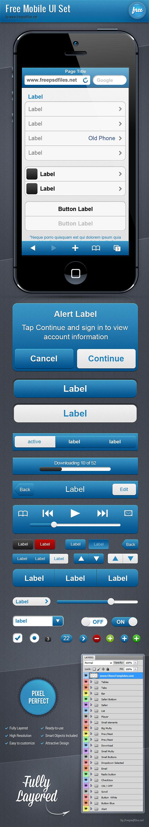 Mobile UI Free PSD Set