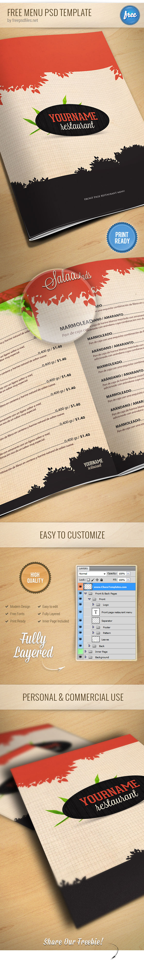 Resaurant Menu Card PSD