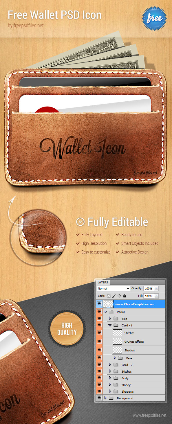 Wallet PSD Icon - Free PSD Files