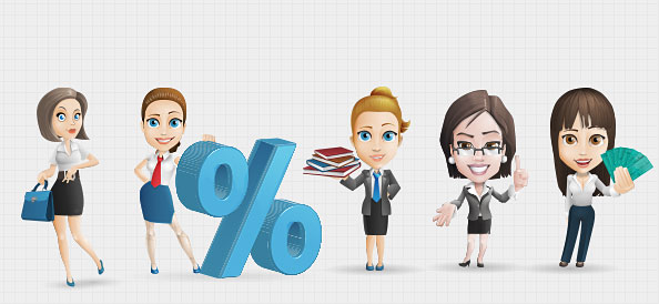 Businesswoman Vector Character Set 1 ~ Free psd files