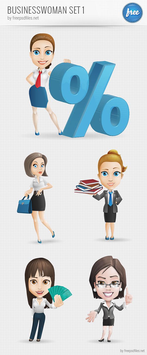 Businesswoman Vector Character Set