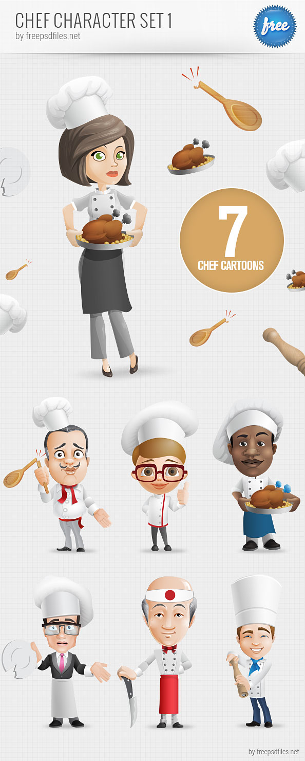 Character Design Free : Chef vector character set free psd files