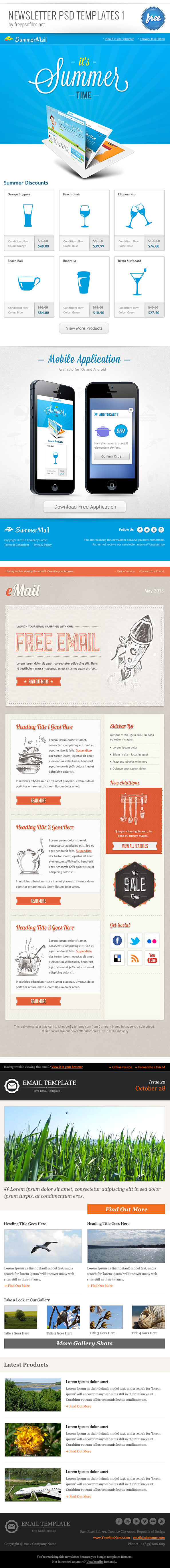 Newsletter psd template set 1 free psd files spiritdancerdesigns Choice Image