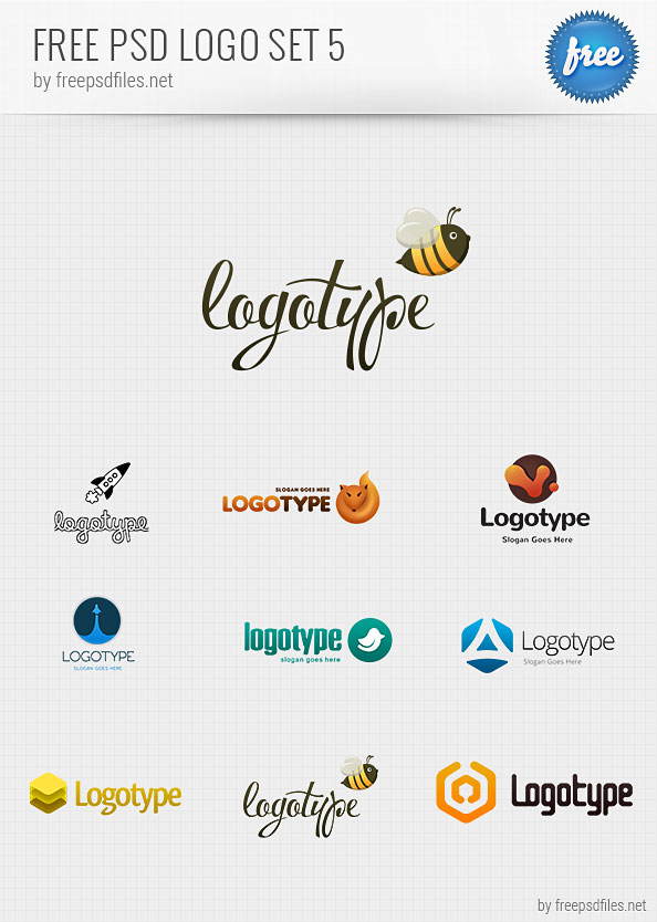 Free psd logo design templates pack 5 free psd files for Free logo templates