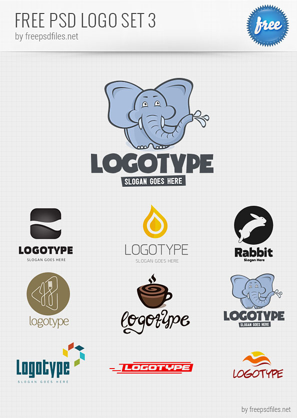PSD Logo Design Templates Pack 3 - Free PSD Files
