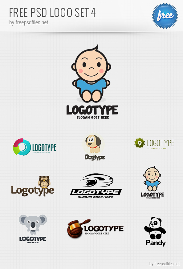 psd logo design templates pack 4 free psd files