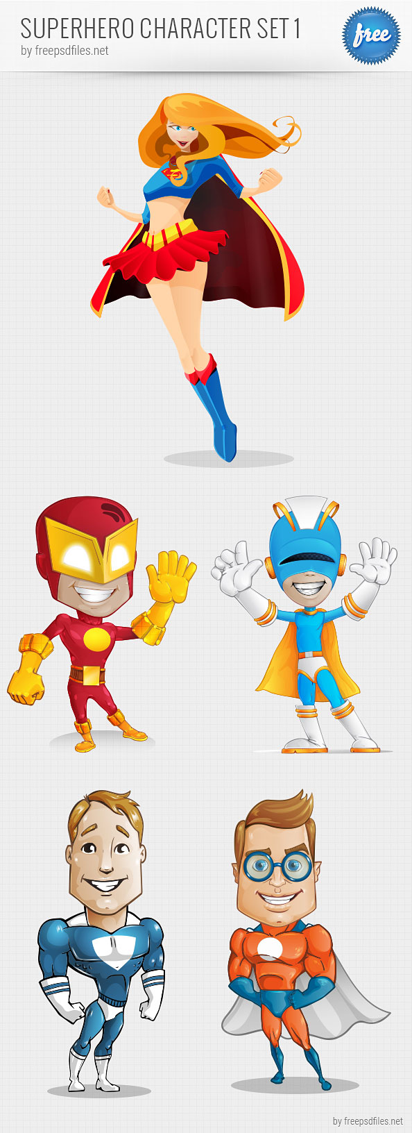 Superhero Vector Character Set - Free PSD Files