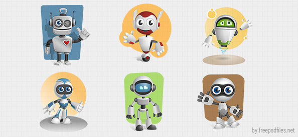 Robot Vector Character Set 1 ~ Free psd files