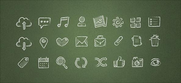 Free PSD Hand Drawn Icons