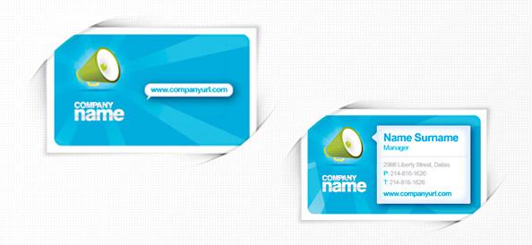 Бесплатный PSD шаблон бизнес карты в голубом цвете