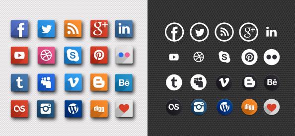 Free PSD Social Media Icons
