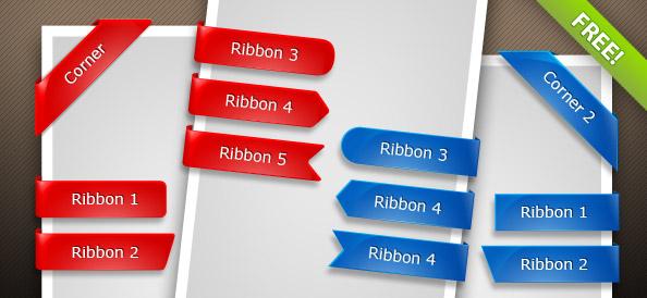 Glossy PSD Ribbons
