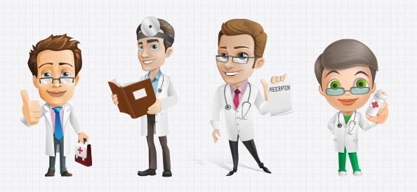 Male Doctor Vector Character Set