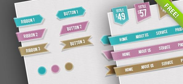 Бесплатный веб набор пользовательских интерфейсов – указатели направлений, кнопки, круги и ленты