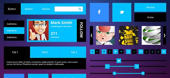 PSD набор пользовательского интерфейса в стиле метро (Metro)