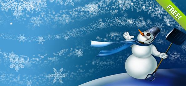 Зимние обои со снеговиком