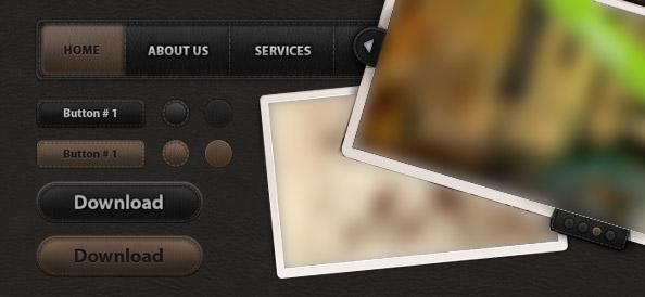 Веб элементы пользовательского интерфейса с имитацией кожи (пакет №1)