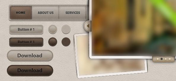 Веб элементы пользовательского интерфейса с имитацией кожи (пакет №2)
