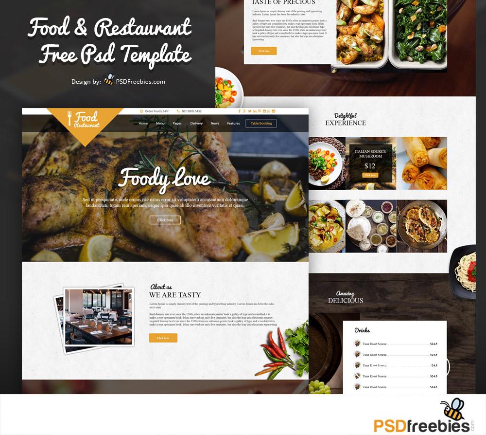 18 restaurant print web free psd templates.html