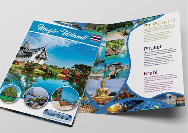 12 attention grabbing bi fold brochure free psd templates for Tourist brochure template