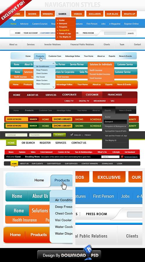 Free PSD Navigation Menus For Stunning Web Designs - Website menu design templates